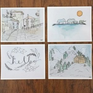 Pack of any 5 Hand-drawn cards